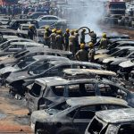 A fire at an air show organized by the government in India destroys hundreds of cars